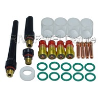 TIG Welding Torch Stubby Gas Lens #10 Pyrex Glass Cup Kit For DB SR WP 17 18 26 TIG Welder Consumables Accessories 26pcs