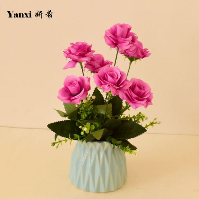 Silk Roses Artificial Flowers With White Vase Set For Home Tabletop
