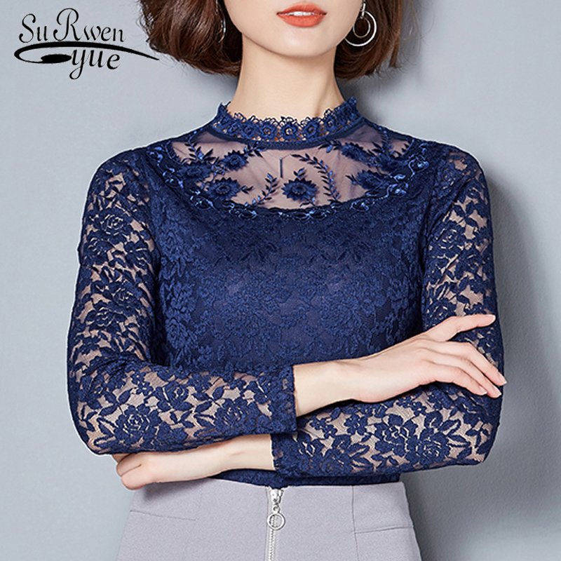 2018 Fashion women Tops lace blouse women shirt Long Sleeve sexy hollow lace women blouse Shirt womens clothing Blusas 560A 30