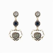 XIAO YOUNG Vintage Heart Simulated Pearl Drop Earrings Korean Design Fashion Rhinestone Long Earrings For Women Jewelry Gift