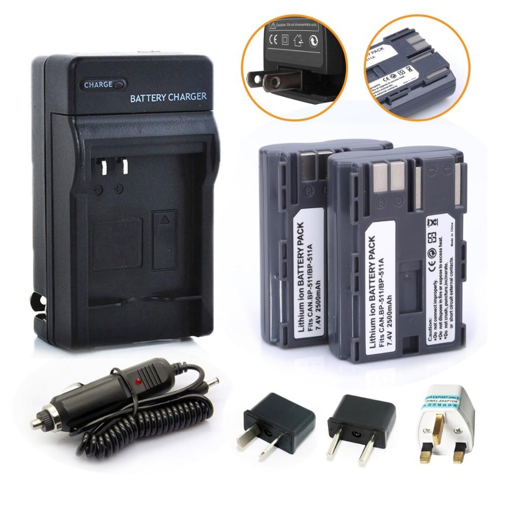 Prix pour 2 Pcs 2500 mAh bp BP511A batterie + chargeur + chargeur de voiture + adaptateur enfichable pour Canon EOS 40D 300D 5D 20D 30D 50D caméra B9Q