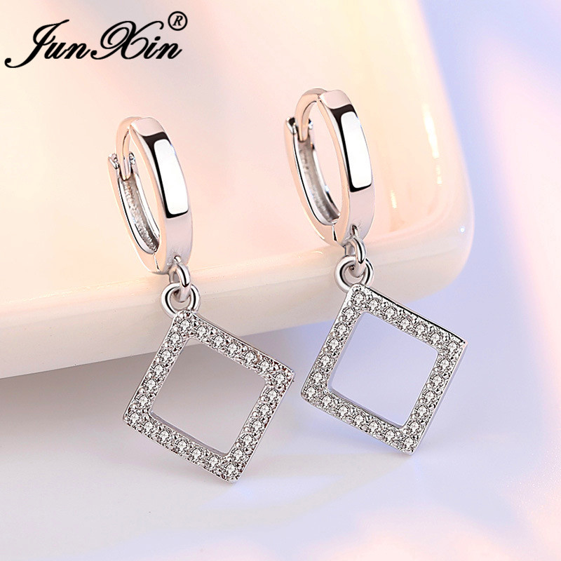 JUNXIN Geometric Square Round Star Hoop Earrings For Women Silver Color White Crystal Stone Cute Wedding Heart Earrings Jewelry