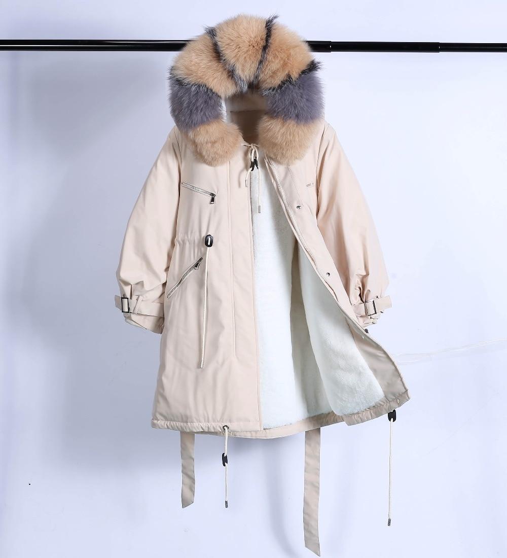 Large Natural Raccoon Fur Winter Jacket Women Hooded 19 Long Parkas For Female Thick Slim Down Winter Coat Women Waterproof 43