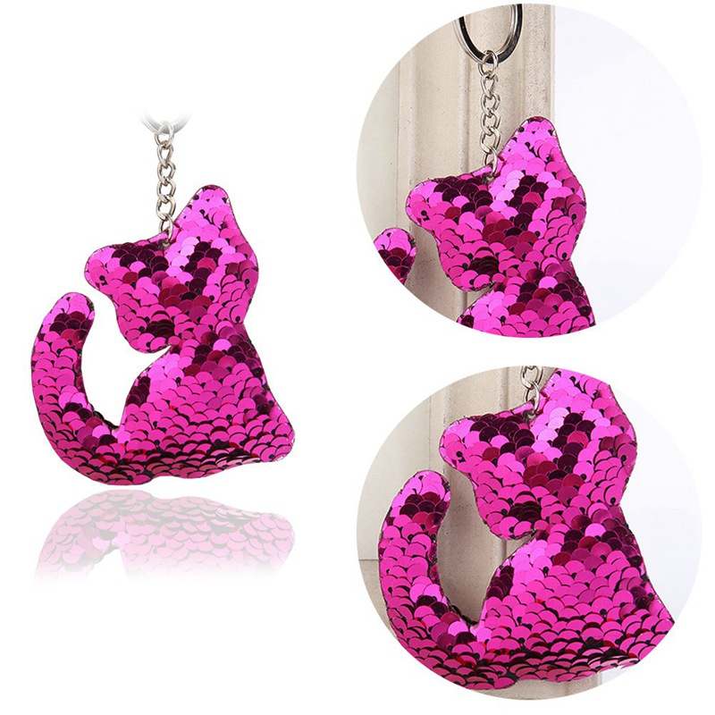 Cute Cat Keychain Glitter Sequins Key Ring Gifts Women Charms Car Bag Accessories Key Chain Reflective Sequins Keychain цены онлайн