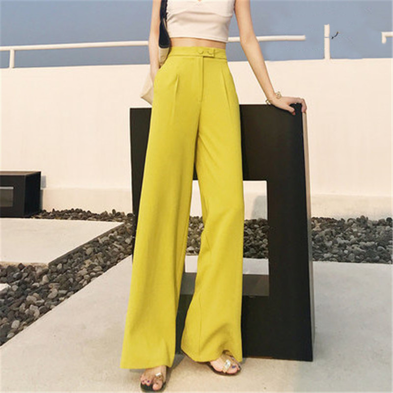 High waist sweet yellow loose   wide     leg     pants   2019 summer fashion thin chiffon loose drape feeling straight casual   pants