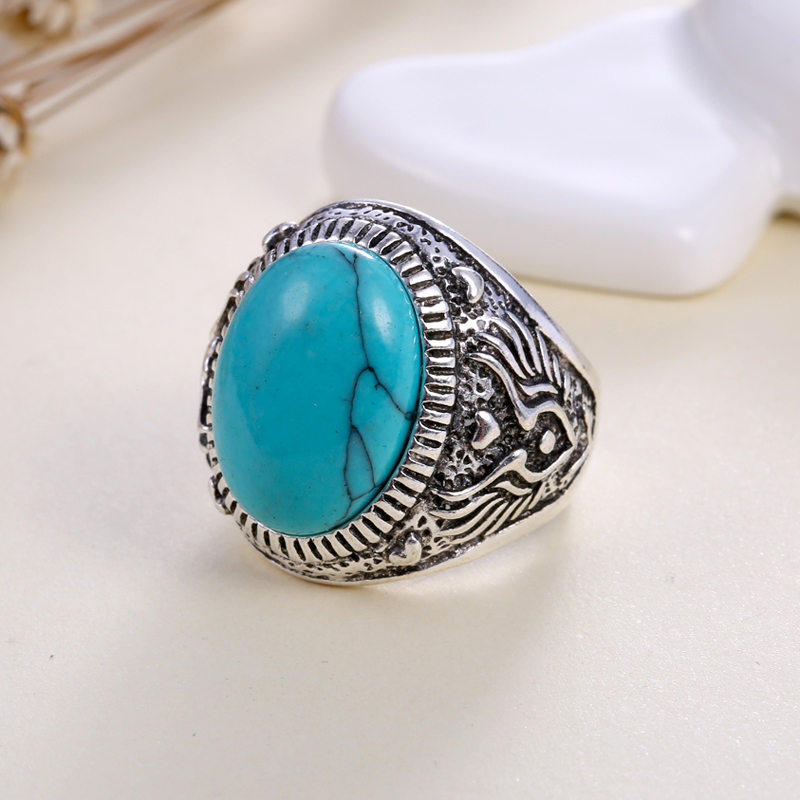 1pc boho charms vintage silver color carving flower rings for womens ...