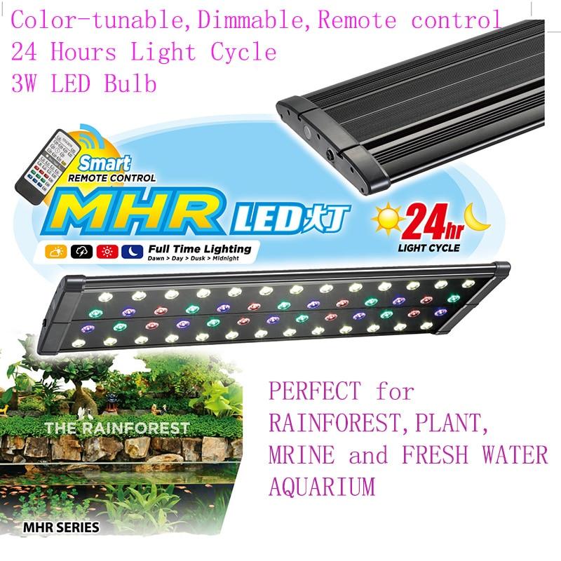 """36 """"-48"""" / 90-120 CM MHR Terumbu Karang Cichlid Tanaman akuarium air tawar Pet LED Light Lampu remote dimmable colorful siklus waktu"""