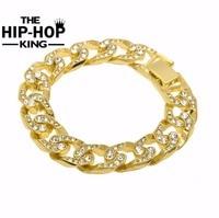 Hip Hop Men Simulated Diamonds Bracelet Cuban Links Chains Silver Bracelet For Bangle Male Alloy Gold