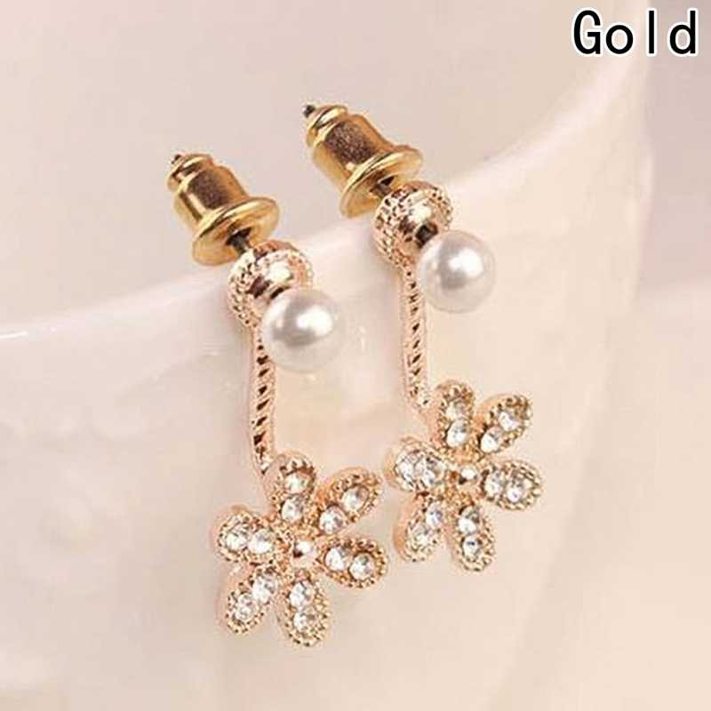 Free Shipping Gift New Fashion Big White Flower Earrings For Women 2018 Gold/Silver Jewelry Bijoux Elegant Gift