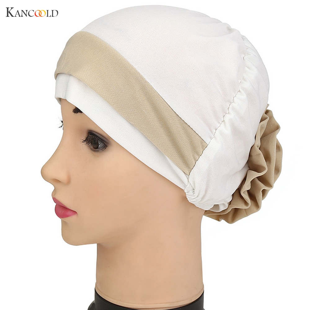 2017 Women Hat Beanie Hats for Women Scarf Turban Head Beanies Wrap cap mujer Keep ear Warm Muslim style Stretch Chemo caps JY4f