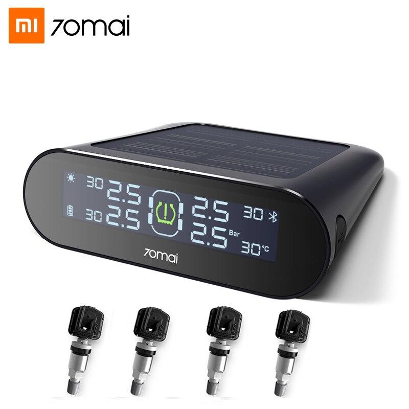 Xiaomi 70mai tpms sensor de pressão dos pneus sistema de monitoramento energia solar 70mai app display lcd alarme segurança do carro pressão dos pneus