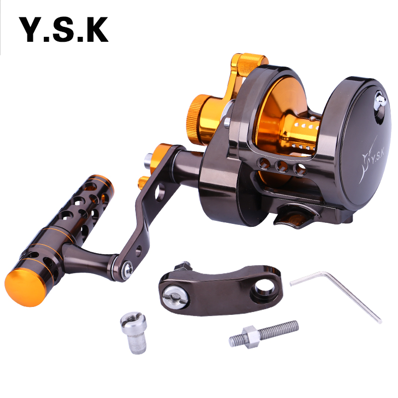 2016 YSK Full Metal Jigging Reel  2 Speed  5.1:1/3.1:1 Trolling Fishing Reel 30kgs Power Drag Deep Sea Boat Reel 1 65m 1 8m high carbon jigging rod 150 250g boat trolling fishing rod big game rods full metal reel seat sic guides eva handle