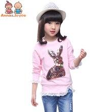 1 PC Children's T-shirt Girl's Cartoon Long Sleeves t shirt girls clothes  Cartoon Cotton Tops ATST0263
