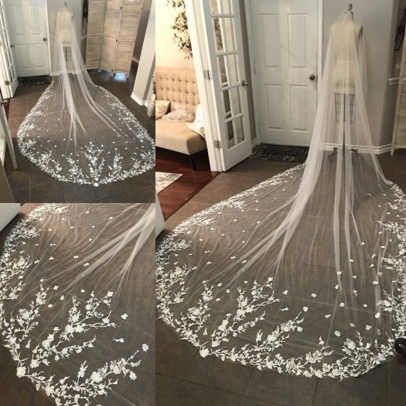 Hot Sell Bridal Veil White/Ivory Small Fowers Lace Long Cathedral Veil Wedding Bridal Veil With Comb Wedding Accessories 456