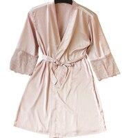 Sexy Ladies Lace Satin Robe Gown Solid Soft Nightgown Nightwear Kimono Bathrobe Sleepwear Wedding Bride Bridesmaid