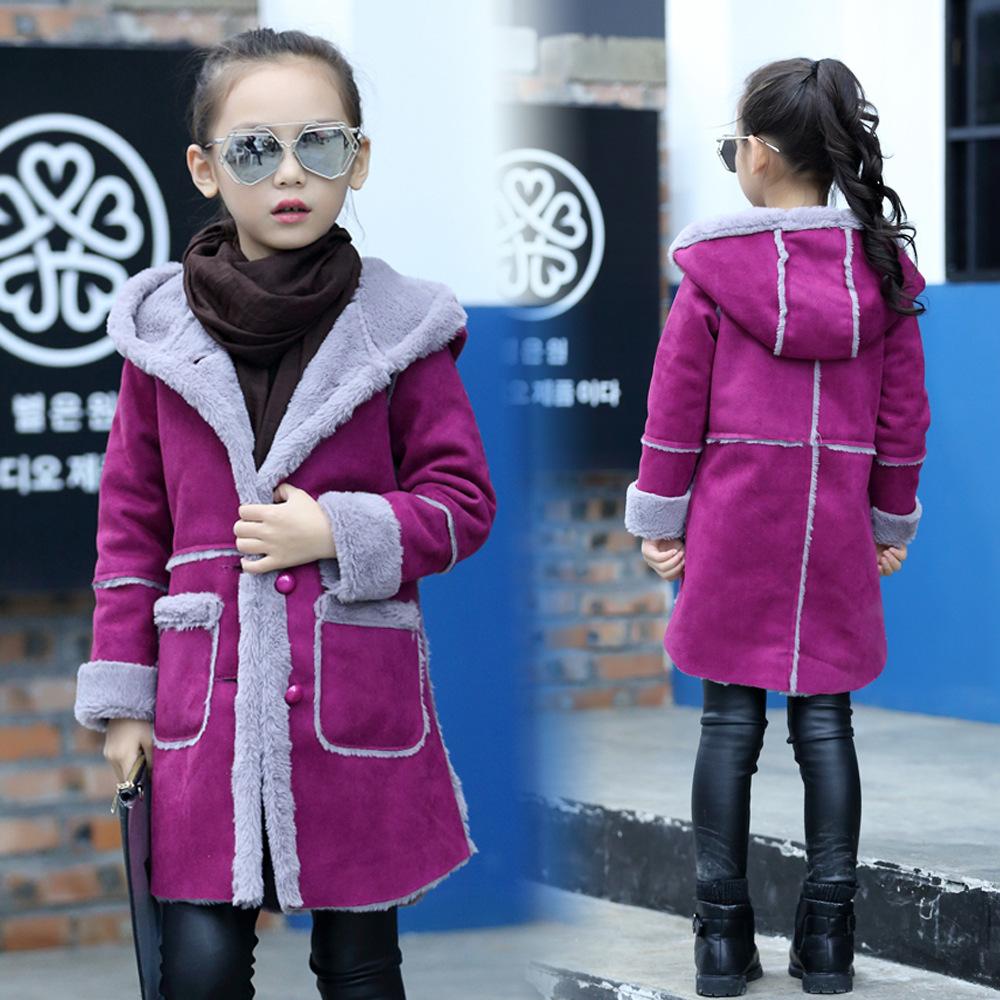 2018 New Girls Suede Coat Jacket Girls Deerskin Coat Kids Plus Velvet Thickening Hooded Overcoat Child Wadded Jacket for 4-13Y