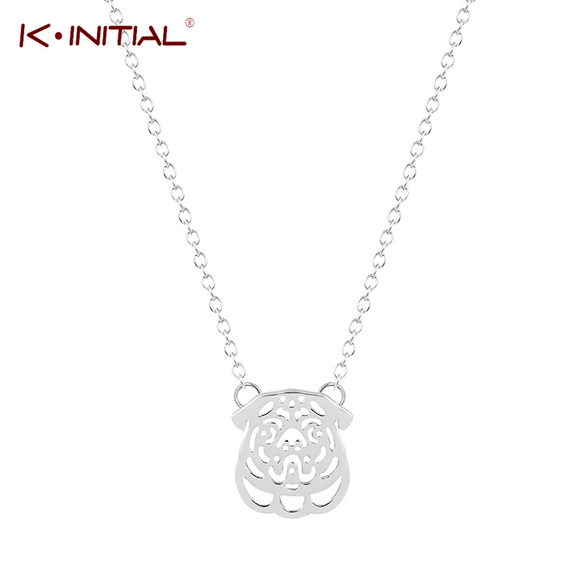 Kinitial Hippie Gold Silver Plated Chic French Bulldog Necklace Boho Animal Dog Puppy Necklaces Fashion Necklaces For Women