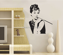 Free shipping Portrait of Audrey Hepburn Wall Stickers home decor art decals decoration removable