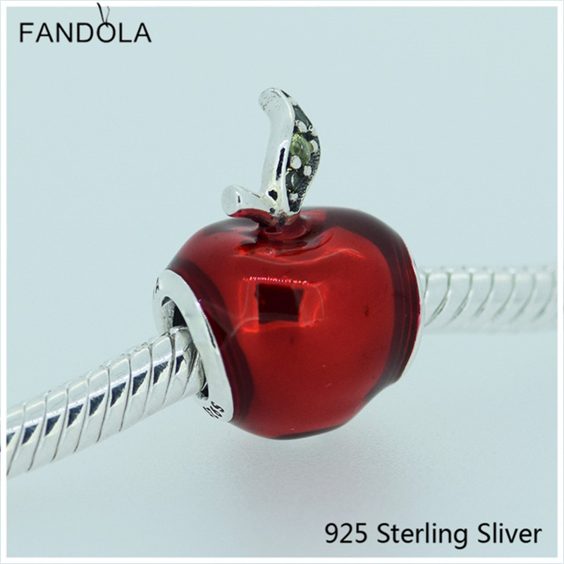 Snow White Apple Silver Charm with Red Enamel Authentic 925 Sterling-Silver DIY Bead Fit Bracelet For Lady Jewelry Making Gifts