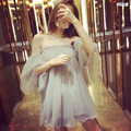 2017 Dress summer new Korean sexy ladies sleeve Pompon net yarn word strapless strapless dress