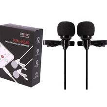 лучшая цена AriMic 6m Dual-Head Lavalier Lapel Clip-on Microphone for Lecture or Interview for Smartphone Mobile phone and Tablets