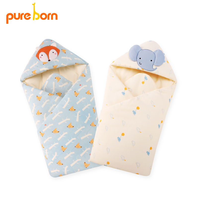 Pureborn Baby receiveing Blacket Baby Swaddle 88cm Baby Blanket Thick Warm Infant Cattle Sleeping Bag Envelope for Newborns