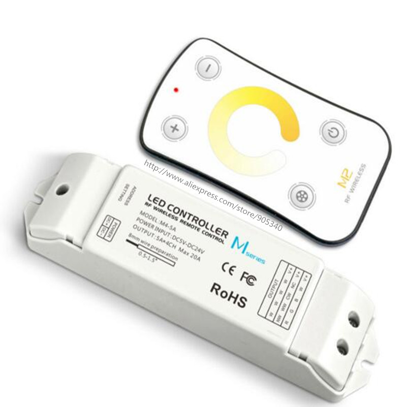 M2+M4-5A,MINI RF color temperature led controller with M4-5A Receiver DC5-24V input 6A*2CH Max 12A output 3 year warranty ltech m3 m4 5a m3 touch rf remote with m4 5a cv receiver led dimmer controller dc5v dc24v input 5a 4ch max 20a output