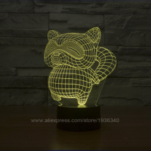 Free Shipping 2015 New Cool 3D DECOR The animal Raccoons shape  projector night lamp Bulbing Light for home decoration 3D108