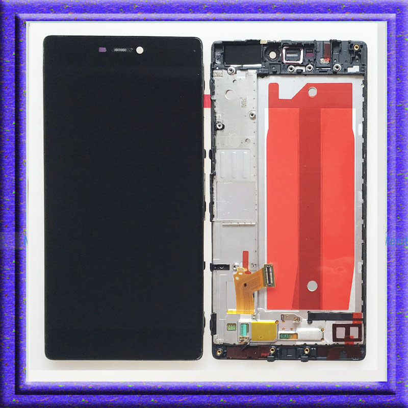 ФОТО Black For Huawei P8 GRA-TL10 LCD Display Touch Screen Digitizer Glass Assembly + Frame Replacement