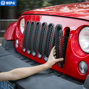 Image 4 - MOPAI ABS Car Exterior Insert Front Mesh Grille Cover Trim With Buckle Stickers For Jeep Wrangler JK 2007 2016 Car Styling