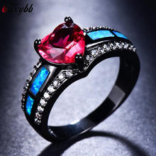 Women Men Ocean Blue Fire Opal Ring Black Gold Filled Wedding Party Engagement AAA Zircon Rings For Female Male Bijoux size 5-11(China)