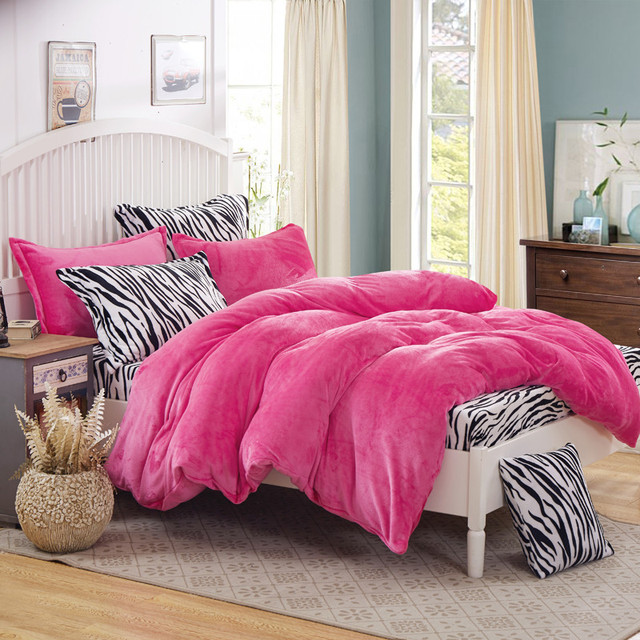 Leopard Fleece Bedding Set King Flannel Duvet Cover Zebra Bed Sheet Super  Warm Soft Bed Linen