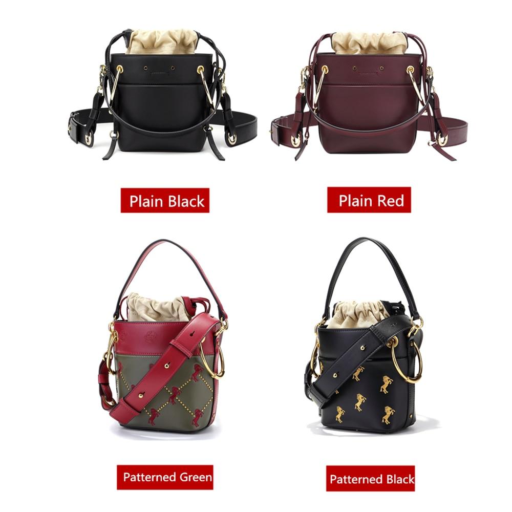 BISON DENIM Luxury Handbags Women Bags Designer Genuine Leather Bucket Bags for women 2018 Embroider Fashion Shoulder Bag B1606