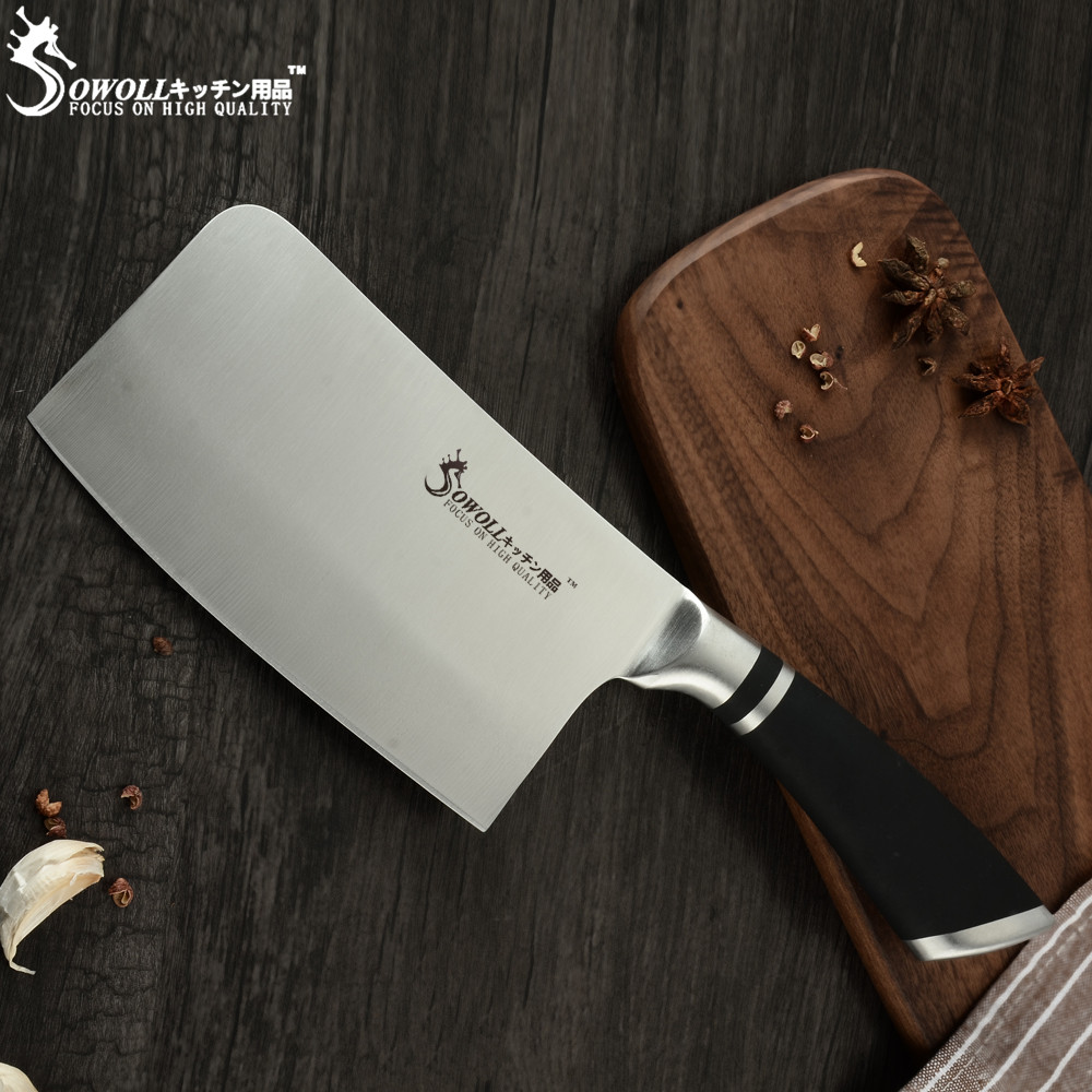 SOWOLL Cutlery-Knives Chopping-Knife Cleaver Butcher Stainless-Steel Chinese Non-Slip-Handle