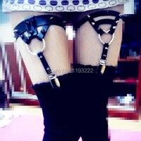 Moda Punk Rock Amo El Yapımı Bacak Jartiyer Kemer, Deri Çorap Jartiyer, Kalp Yuvarlak Çivili Perçin Bacak Halkası Döngü