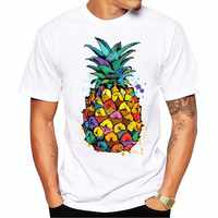 New 2019 Summer Fashion water color Pineapple pizza Design T Shirt Men's High Quality White Modal Tops Hipster Tees