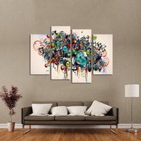FOUR PC NO FRAME Metallic Flowers Oil Painting Printed Oil Painting On Canvas Home Decor Wall