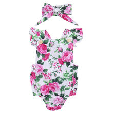 Baby Girls Bodysuit Tops Bow Headband Flower Jumpsuit Clothes Outfits Sunsuit Floral Newborn Infant Baby Girl Clothing