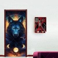 Print Environmental Protection Wolf Home Decor DIY Door Animal Sticker Self Adhesive Art Paper for Living Room PVC Waterproof 3D|Door Stickers|Home & Garden -