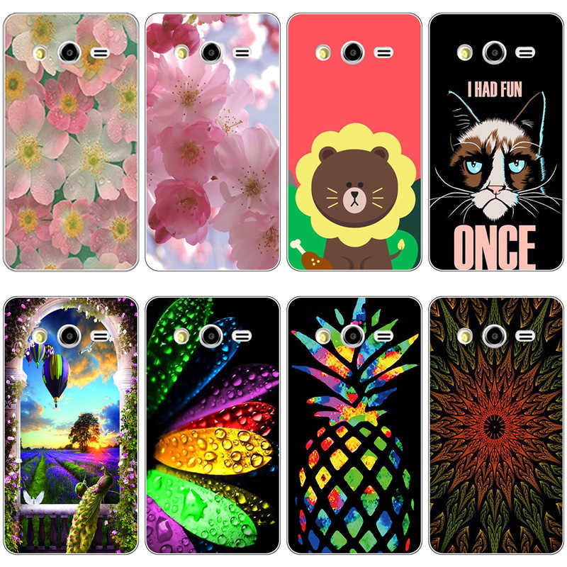 Case For Samsung Galaxy Core 2 Duos G355H Cute Cat Capa Phone Shell For Samsung Core2 SM-G355 G3559 Cover Bear Dog Flower Fundas