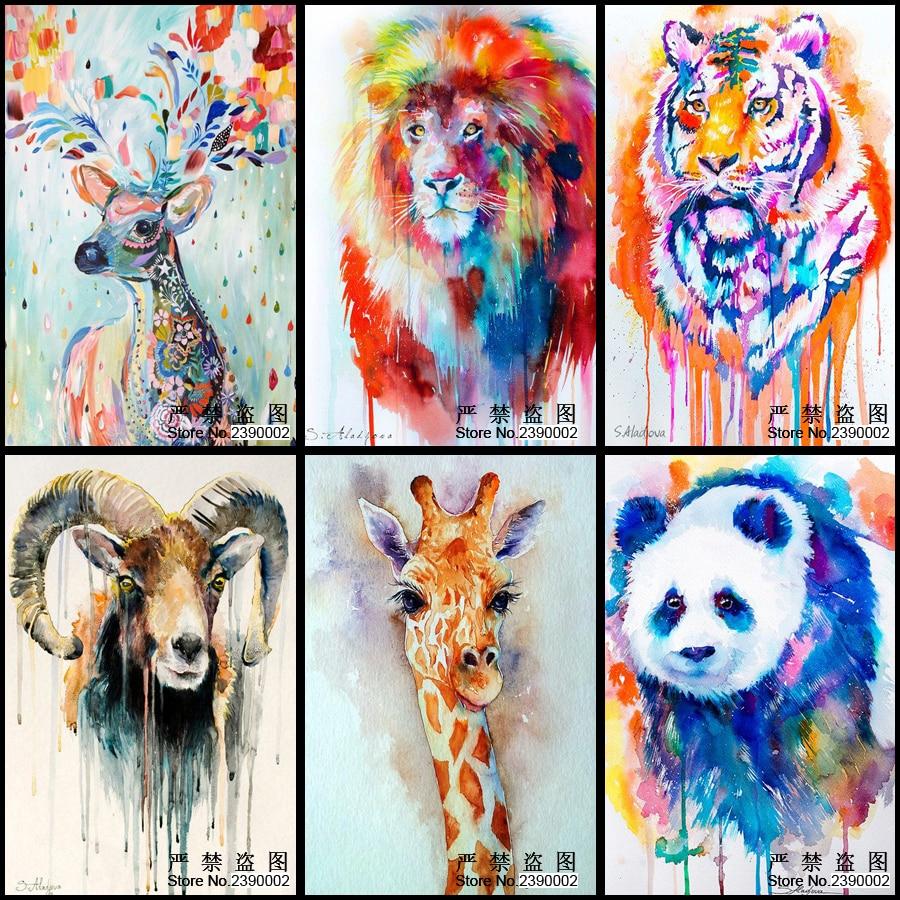 5D Diy Diamond Malování Zvířecí Tygr Lion Panda Žirafa Obrázky Diamond Mosaics Náměstí Cross Stitch Home Dekorativní Dárky