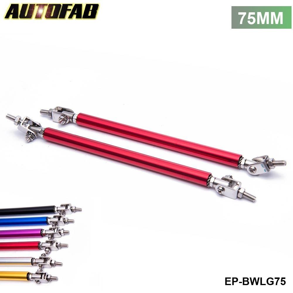 Fit Red Bumper Protector Lip Rod Splitter Strut Tie Bars Support Kit 5.5 In-8 In