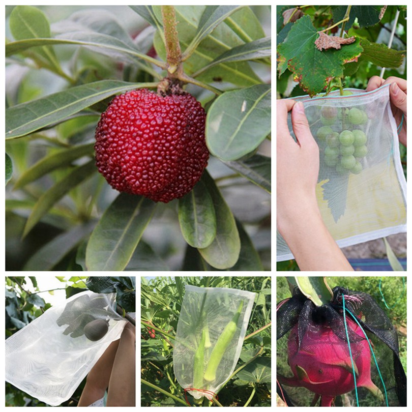 5pcs 15-140cm 40Mesh Nylon Net Bag Fruit Vegetable Protection Cover Anti Mosquito Flies Insect Netting Garden Pest Control Net