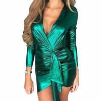 Women Bandage Bodycon Mini Dress V-collar Sexy Long Sleeve Dress Mujer Plus Size Slim Party Dress Femme Robe Clubwear PL190G