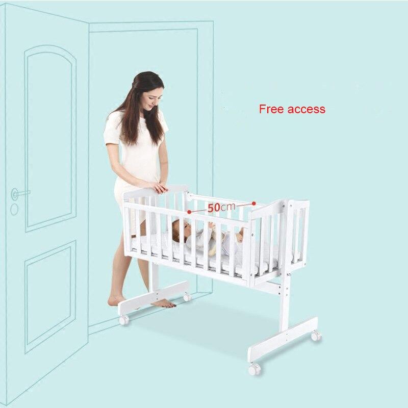 Berceau européen en bois massif bébé shaker nouveau-né berceau lit multi-fonction BB lit avec moustiquaire - 4