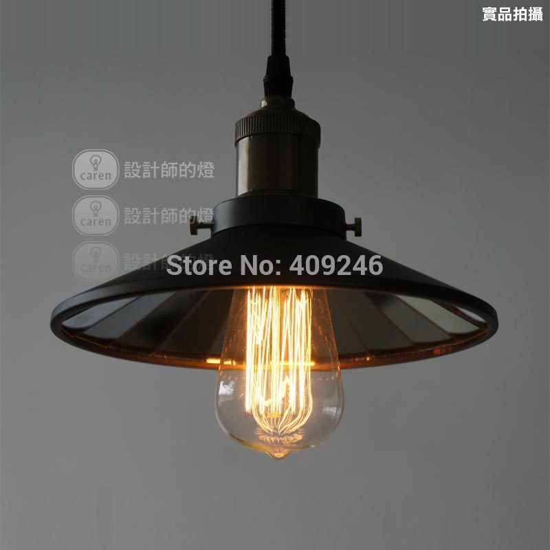 Loft 22CM American Vintage Edison Wrought Iron Metal Pendant Lights Lamp Fixtures Attached Mirror Pendant Lighting For Cafe Bar loft single cage droplight wrought iron edison vintage ceiling pendant lamp for cafe bar coffee shop hall bedside