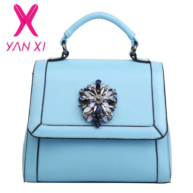 Yanxi nuevo otoño y el invierno de diamantes elegante bolso femenino de moda sólido de la pu mobile messenger bolsa bolsa de mujer pequeña bolsa de hombro