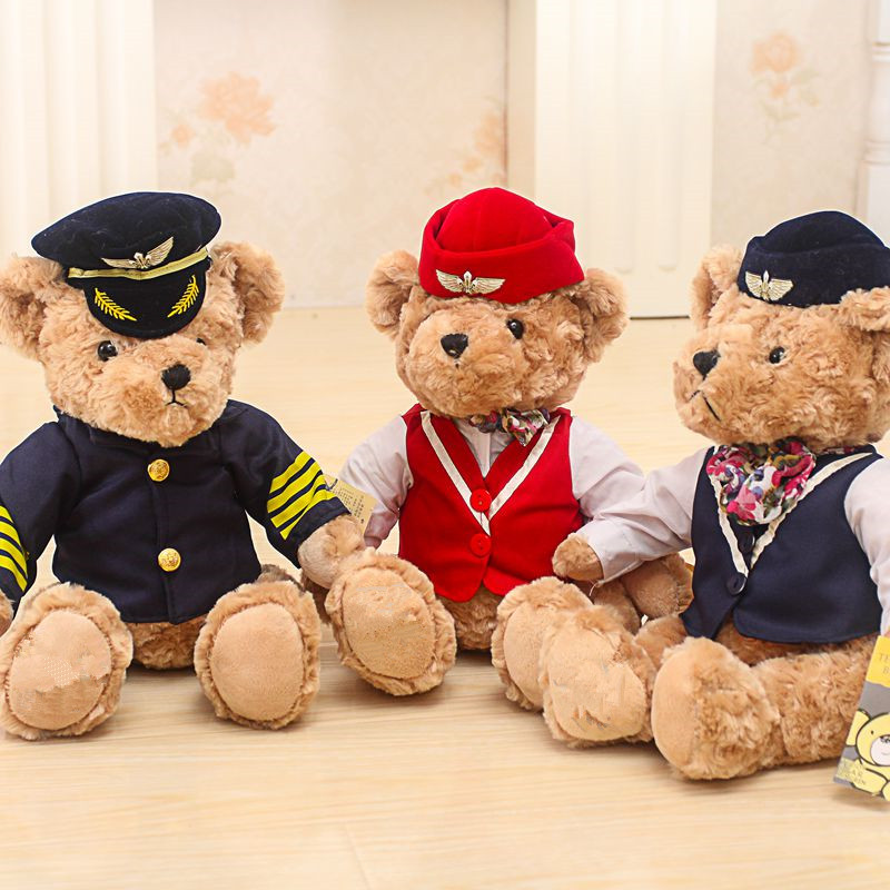 1pc 25cm Cute Pilot Teddy Bear Plush Toy Captain Bear Doll Birthday Gift Kids Toy Baby Doll Stuffed Animal Toys for Children push along walking toy wooden animal patterns funny kids children baby walker toys duckling dog cat development eduacational toy