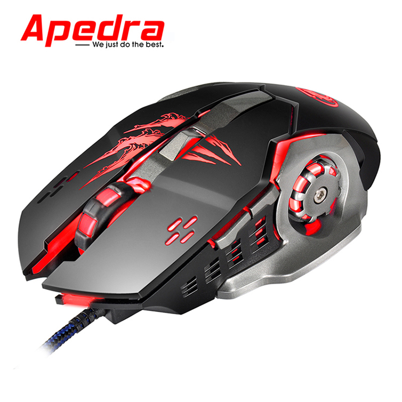 Apedra 3200DPI USB Wired Mouse Mice Computer Gaming LED Mouse Ergonomics Gamer 6 Buttons for PC Mac Laptop Game LOL Dota2