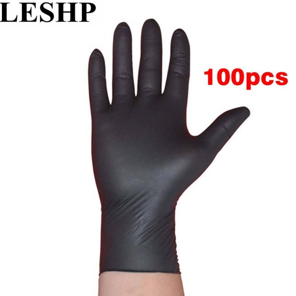 LESHP 100pcs/lot Disposable Mechanic Gloves Household Cleaning Washing Black Nitrile Laboratory Nail Art Anti-Static Gloves oil free comfortable cheap nitrile gloves white nylon knitted hands protection gloves white mechanic construction industry